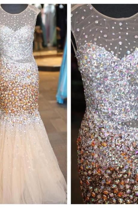 Prom Dresses,Evening Dress,Party Dresses,Backless Prom Dresses,Open Back Prom Dress,Crystals Prom Gown,Sparkly Prom Gowns,Elegant Evening Dress,Sparkle Evening Gowns,Mermaid Evening Gowns,Sexy Champagne Prom Dress