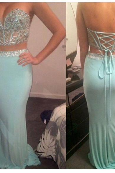 Prom Dresses,Evening Dress,Party Dresses,2 Piece Prom Gown,Two Piece Prom Dresses,Mint Evening Gowns,2 Pieces Party Dresses,Evening Gowns,Backless Formal Dress,Sparkly Evening Gowns For Teens