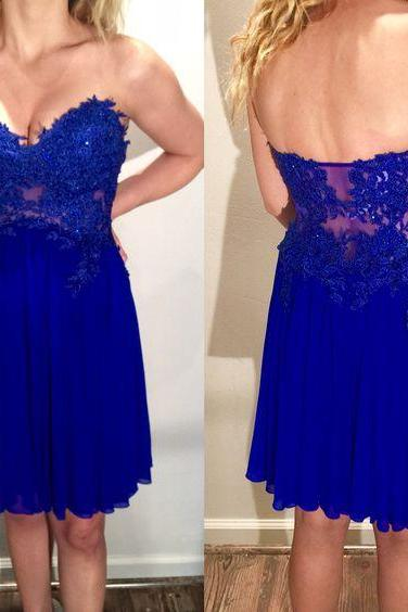 Homecoming Dresses,Lace Homecoming Dress,Royal Blue Homecoming Dress,Fitted Homecoming Dress,Short Prom Dress,Homecoming Gowns,Cute Sweet 16 Dress For Teens