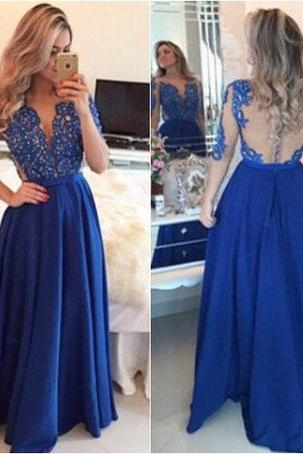Prom Dresses,Evening Dress,Party Dresses,Royal Blue Prom Dresses,Lace Evening Dress,Backless Prom Dress,Prom Dresses With Long Sleeves,Charming Prom Gown,Open Back Prom Dress,Mermaid Fashion Evening Gowns for Teens