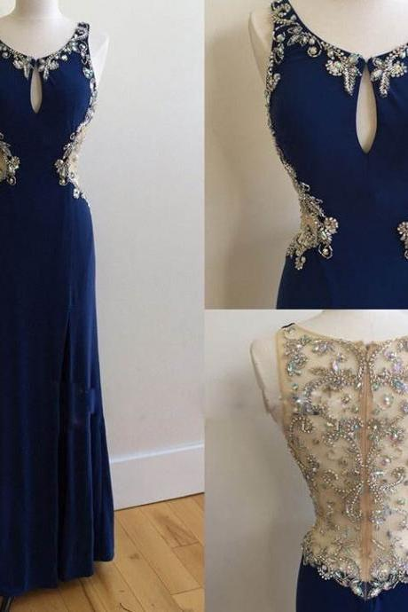 Prom Dresses,Evening Dress,Party Dresses,Royal Blue Prom Dresses,Royal Blue Prom Dress,Silver Beaded Formal Gown,Beadings Prom Dresses,Evening Gowns,Chiffon Formal Gown For Senior Teens