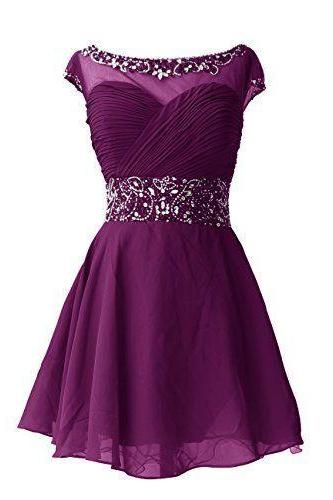 Purple Short Chiffon A-Line Homecoming Dress Featuring Beaded Embellished Ruched Bodice with Bateau Neckline and Cap Sleeves