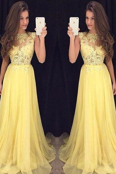 Prom Dresses,Evening Dress,Party Dresses,Yellow Prom Dresses,Charming Evening Dress,Yellow Prom Gowns,Lace Prom Dresses,2017 New Prom Gowns,Yellow Evening Gown,Party Dresses