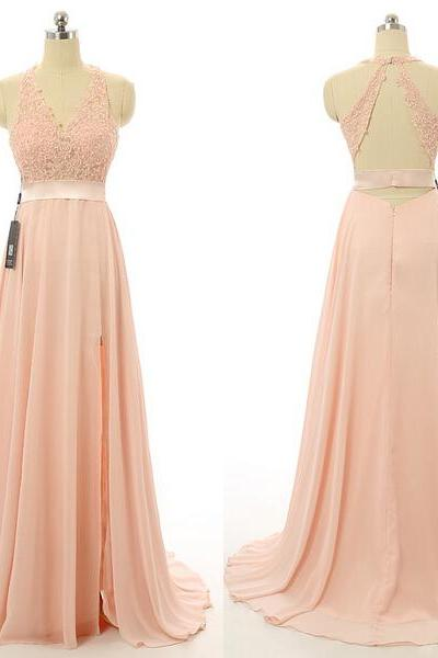 Prom Dresses,Evening Dress,Party Dresses, Prom Dresses,Blush Pink Evening Gowns,Sexy Formal Dresses,Chiffon Prom Dresses,2017 Fashion Evening Gown,Sexy Evening Dress,Party Dress,Bridesmaid Gowns