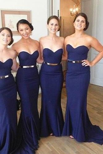 Custom Made Navy Blue Sweetheart Neckline Mermaid Bridesmaid Dress with Metallic Belt