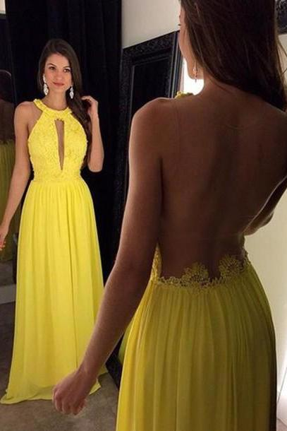 Prom Dresses,Evening Dress,Party Dresses,Yellow Prom Dresses,Elegant Evening Dresses,Long Formal Gowns,Beaded Party Dresses,Chiffon Pageant Formal Dress,Backless Prom Dresses
