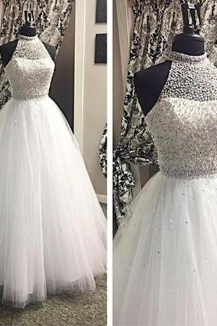 Prom Dresses,Evening Dress,Party Dresses,Sexy Prom Dresses,Prom Dress,White Prom Dresses,Tulle Prom Dress,Modest Prom Gown,Silver BeadedProm Gown,Princess Evening Dress,Ball Gown Evening Gowns,Beaded Party Gowns,2017 Evening Gown