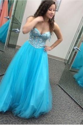 Prom Dresses,Evening Dress,Party Dresses,Blue Prom Dresses,Tulle Prom Gowns,Sparkle Prom Dresses,Long Party Dresses,Simple Prom Dress,Elegant Evening Gowns,Modest Prom Gowns,Beaded Bodice Evening Gowns