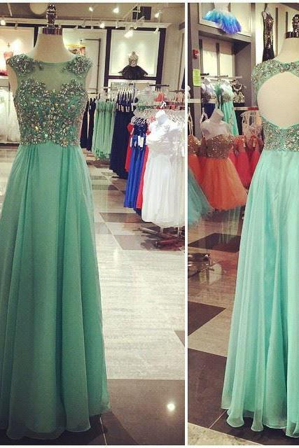 Prom Dresses,Evening Dress,Party Dresses,Mint Green Prom Dresses,Backless Evening Gowns,Sexy Formal Dresses,Beaded Prom Dresses,2017 Fashion Evening Gown,Open Backs Evening Dress