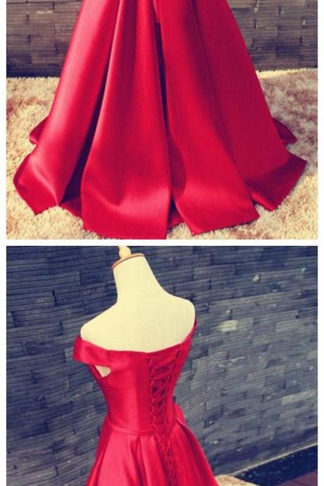 Prom Dresses,Evening Dress,Party Dresses,Red Prom Dresses,Satin Prom Dress,Off The Shoulder Prom Dresses,Formal Gown,Sexy Evening Gowns,Red Party Dress