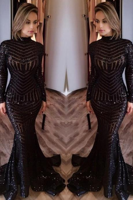 Prom Dresses,Evening Dress,Party Dresses,Prom Dresses,Long Prom Dresses,Sequined Mermaid Black Long Evenoing Dresses 2017 Sleeves High Neck Sexy Prom Dress