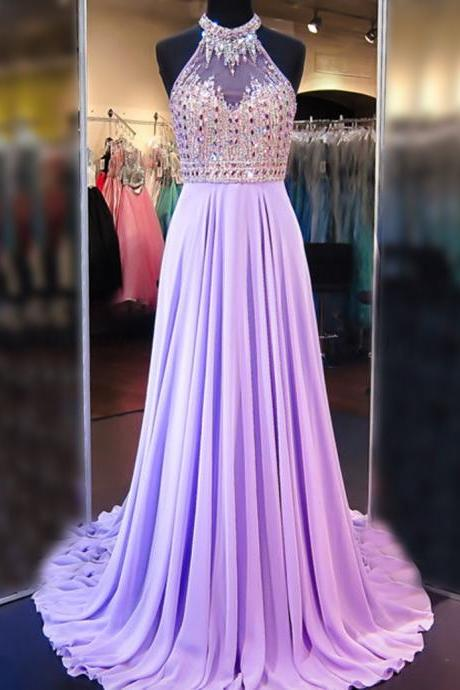 Prom Dresses,Evening Dress,Party Dresses,A Line Cowl Neck Sleeveless Long Pleated Beaded Lilac Prom Dress Open Back Prom Dresses