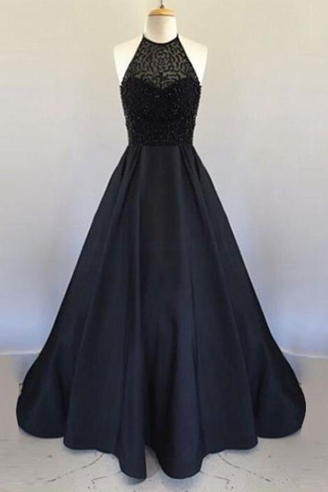 Prom Dresses,Evening Dress,Party Dresses,Prom Dresses,A Line Halter Floor Length Black Pleated Prom Dress with Beading