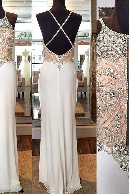 Prom Dresses,Evening Dress,Party Dresses,Crystal Sheath Floor Length Evening Dresses Crossed Back Beading Party Gowns