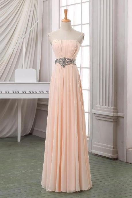 Prom Dresses,Evening Dress,Party Dresses,ale pink pleated prom dress,strapless long chiffon prom dress,party dress,pageant dress,bridesmaid dress for wedding with beading sash.