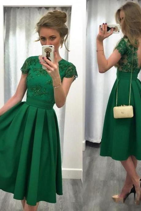 Homecoming Dresses,Evening Dress,Party Dresses,Evening Party Dresses, A-line Cap Sleeve Lace Party Dress in Green