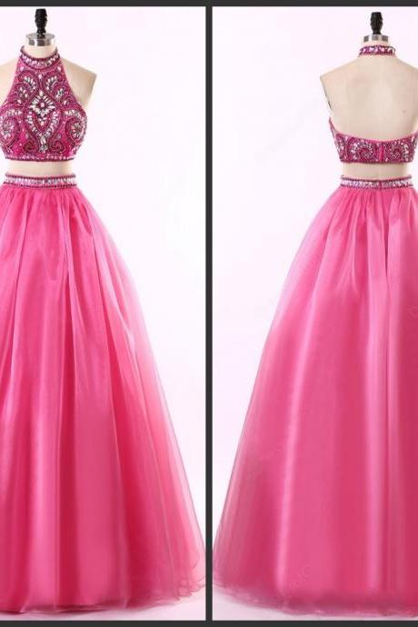 Prom Dresses,Evening Dress,Party Dresses,Two Piece Halter Neck Floor-length Chiffon Prom Gown