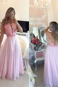 Prom Dresses,Evening Dress,Party Dresses,New Arrival Prom Dress,Pink lace long prom dresses,elegant A-line lace long evening dresses,pink formal dress,fashion dress for teens