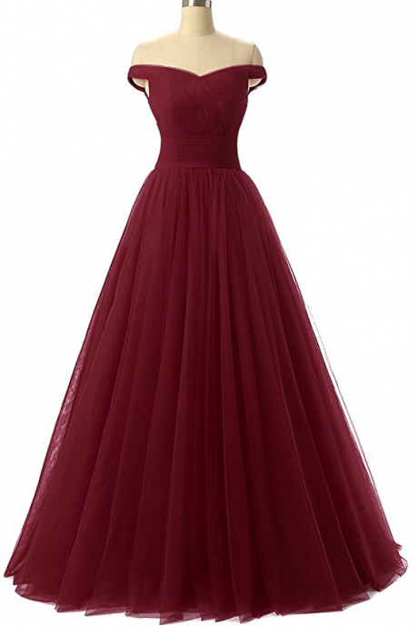 Off-the-Shoulder Ruched A-line Floor-Length Prom Dress, Evening Dress