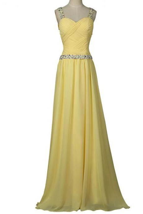 Prom Dresses,Evening Dress,Party Dresses,Yellow Prom Dress 2017 Sweetheart Chiffon Beaded Sequin Ombre Dress Long Prom Dresses