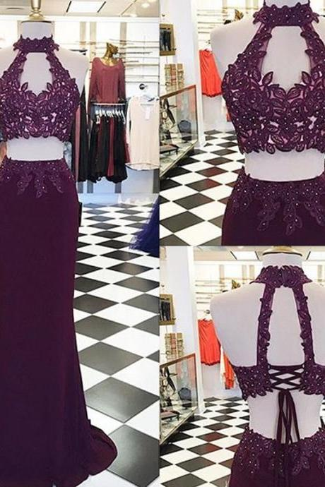 Prom Dresses,Evening Dress,Party Dresses,Decent Two Piece Burgundy Mermaid Prom Dress - High Neck Keyhole Open Back Lace-up Appliques Beading