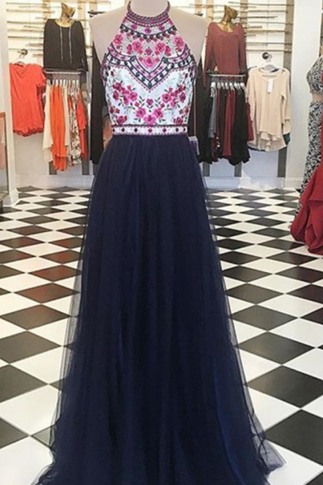 Prom Dresses,Evening Dress,Party Dresses,Modern Halter Floor-Length Navy Blue Prom Dress with Embroidery Beading