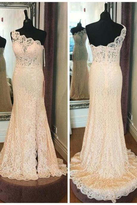 Prom Dresses,Evening Dress,Party Dresses,One Shoulder Full Lace Wedding Dresses 2017,High Quality Sheath Bridal Dresses Lace