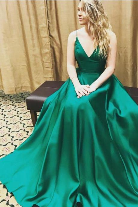 Prom Dresses,Evening Dress,Party Dresses,v neck long green satin ball gowns prom dresses 2017 Prom Dresses