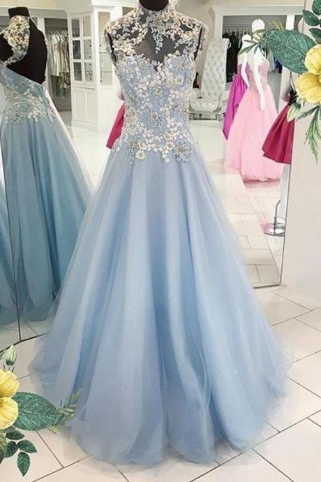 Prom Dress,Sexy Elegant Prom Dresses, Sexy Prom Dresses,Sleeveless Appliques Lace Tulle Ball Gown,Long Evening Dress,Elegant Formal Gown