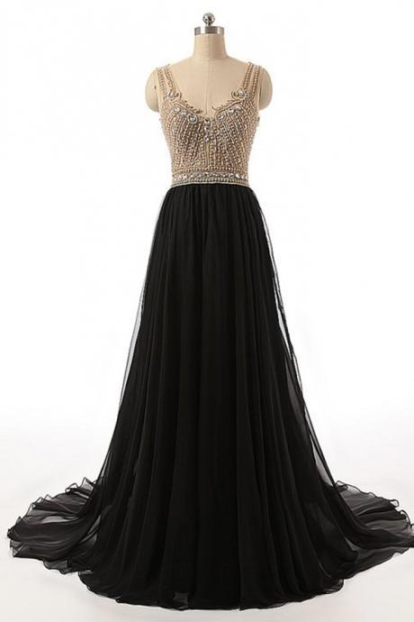 Sexy See Through Beaded Evening Prom Dresses, Black Long Party Prom Dress, Custom Long Prom Dresses, Cheap Formal Prom Dresses