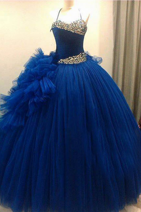 A line Prom Dress, Tulle Prom Dress, Royal blue Prom Dress, dresses for Prom, Formal prom dresses 2017, open back prom dress