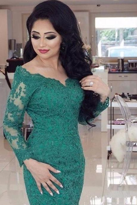 Long Sleeves Evening Dresses ,Western Styles Lace Beautiful Long Tail Green Color Mermaid Evening Gowns