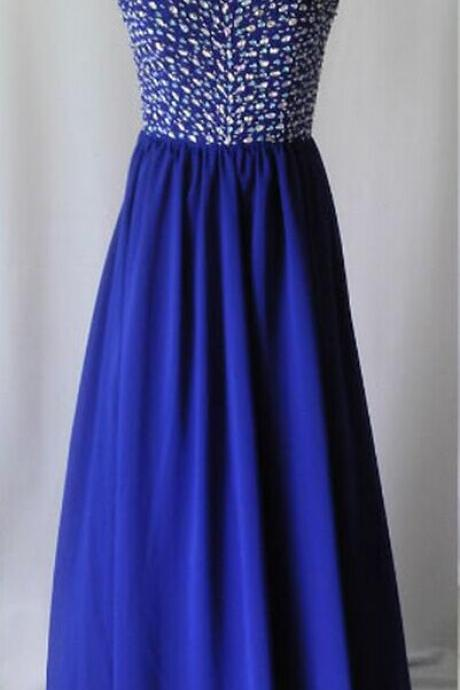 Royal Blue Beaded Embellished Sweetheart Floor Length Chiffon A-Line Formal Dress, Prom Dress