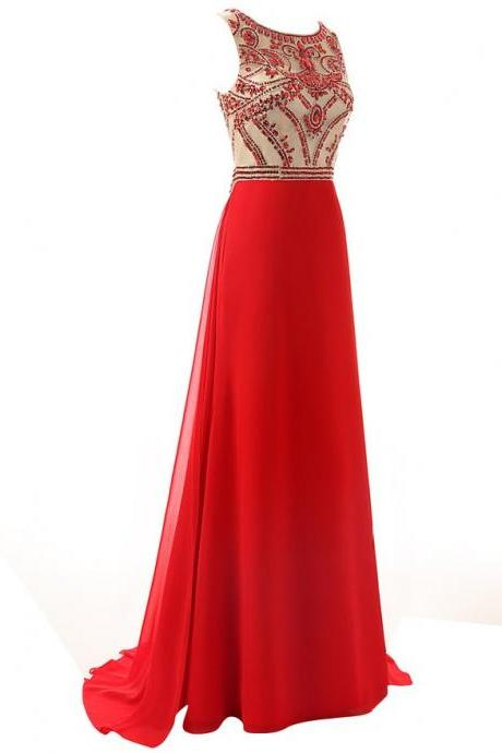 Red Long Prom Dress Handmade Beading Chiffon Red Formal Evening Gowns , Chiffon Formal Evening Prom Dresses