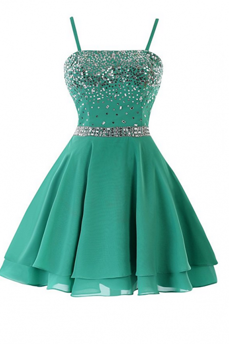 Sequined Spaghetti Strap Short Homecoming Prom Dresses