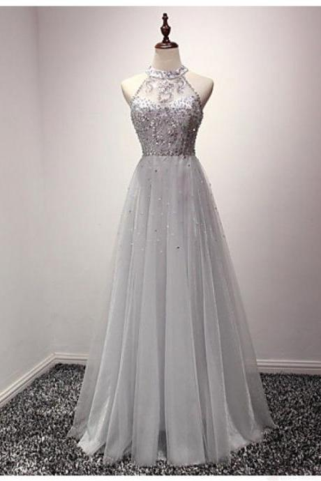 Gray Prom Dress,Tulle Prom Dress,Prom Dresses,Modest Party Dress,Prom Gown For Teens