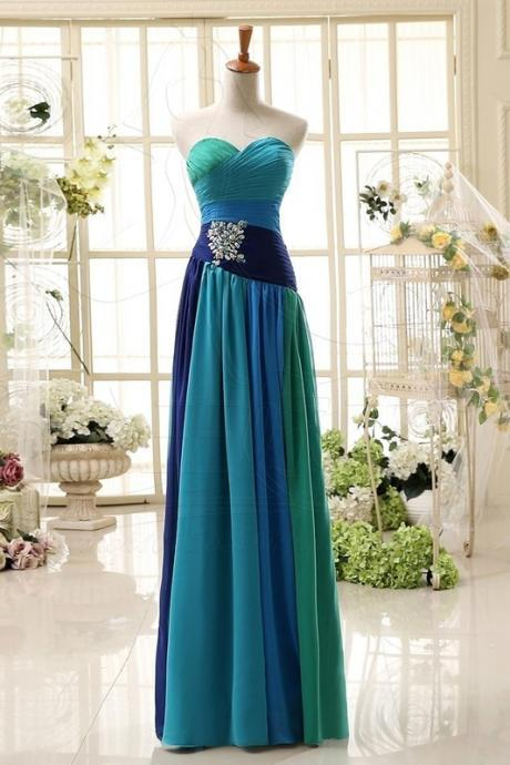 Custom Made Sweetheart Neckline Chiffon Jewel-Embellished Long Evening Dress, Prom Dresses, Wedding Dresses