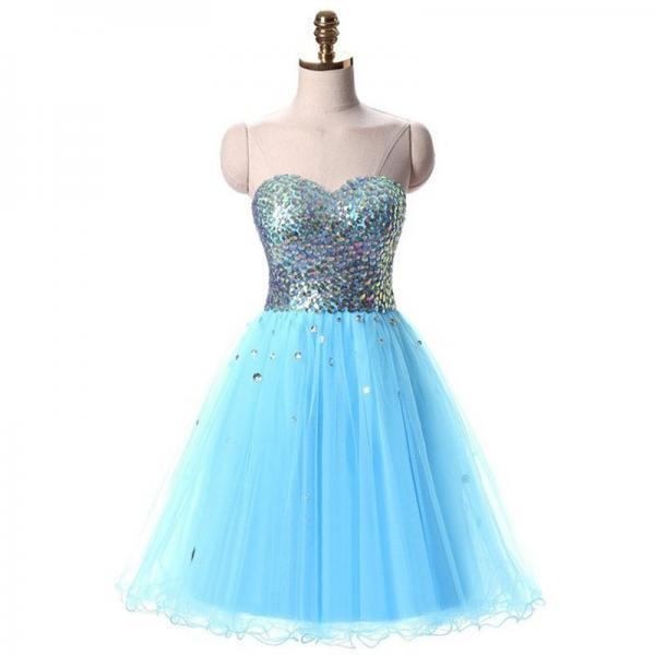 Dress Vestido Curto De Anos Crystals Blue Tulle Sweet 16 Dresses Homecoming Short