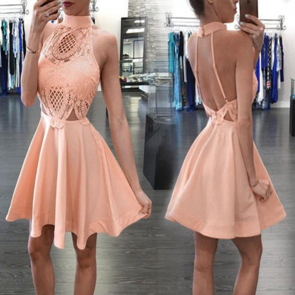 New Arrival Blush pink High neck open backs unique style homecoming prom dresses