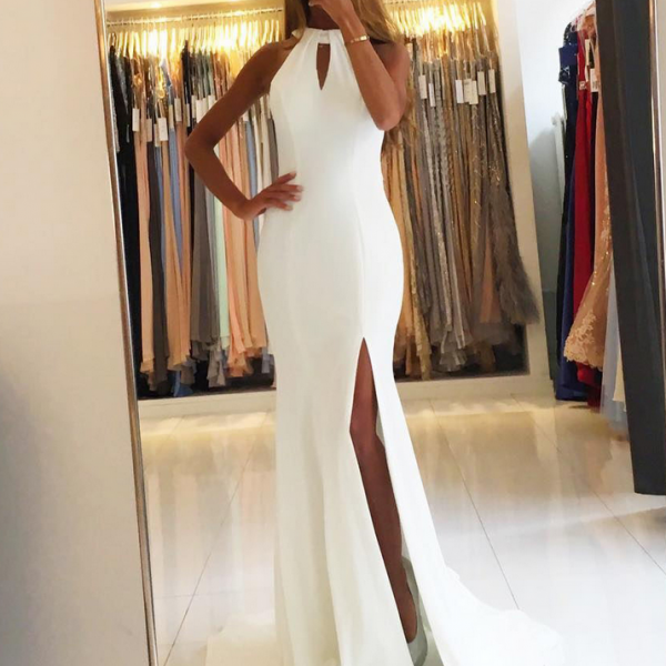 White Chiffon Front Silt Casual Style Backless Halter Top: Opening Back Elegant Chiffon Evening Dress Long Sexy Deep