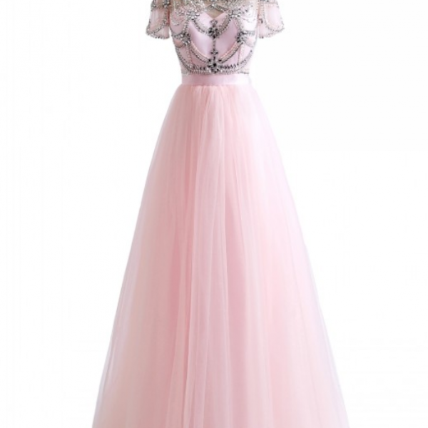 New Short Sleeves Ball Gown robe de soiree Crystal Beading Pink White Colors Tulle Sexy Backless Beach Prom Dresses