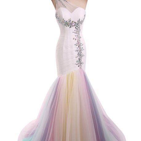 Ever Pretty Colorful Mermaid Beaded Tulle One shoulder Special occasion Dresses Rainbow prom dresses