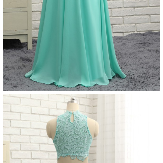 Prom Dresses ,A-line High Collar Chiffon Lace Two Pieces Long Prom Gown ,Evening Dresses ,Evening Gown