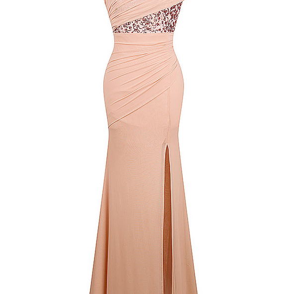 One Shoulder Pleat Ruched Sequin Slit Mermaid Long Evening Dress