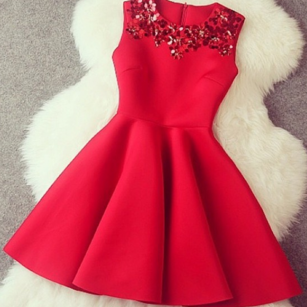 Gorgeous A line Red Short Dress with Sequins, Red Dresses, Gorgeous Dresses in Stock