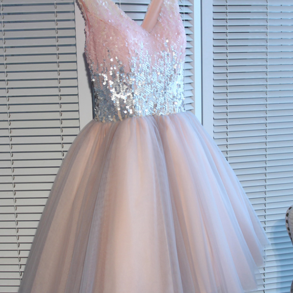Cute Sequins Tulle Short Party Dresses, V-neckline Lace Up Formal Dresses, Homecoming Dresses