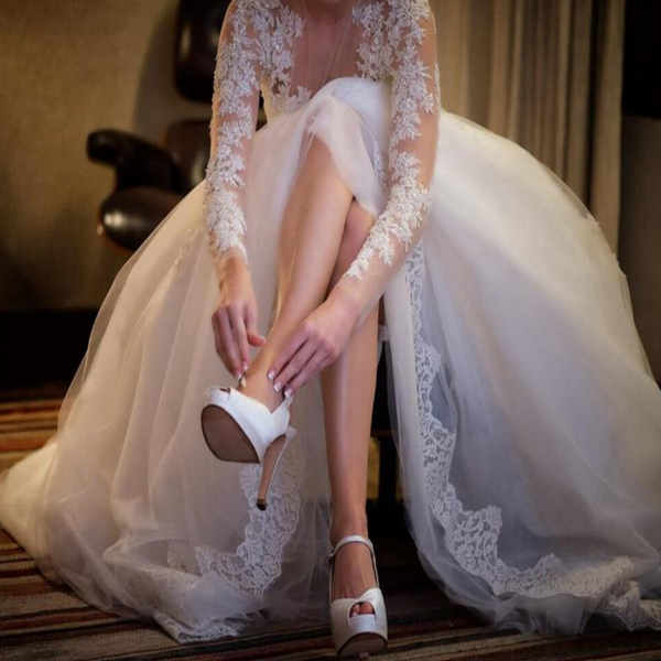 Charming Wedding Gown,Long Sleeve Wedding Dresses,Sexy See Through Wedding Party Dresses,Lace Wedding Dress,Plus Size Wedding Dresses,Wedding Dresses