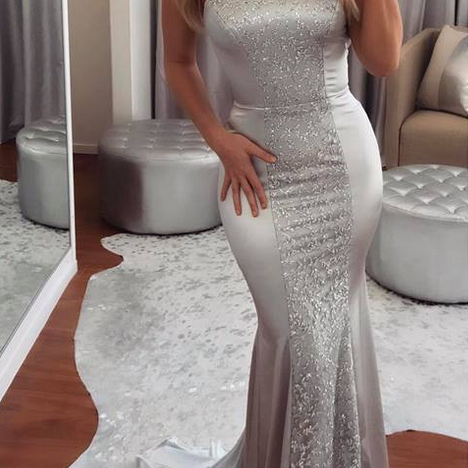 elegant silver long prom dress, 2018 mermaid long prom dress, halter silver mermaid long prom dress evening dress party dress