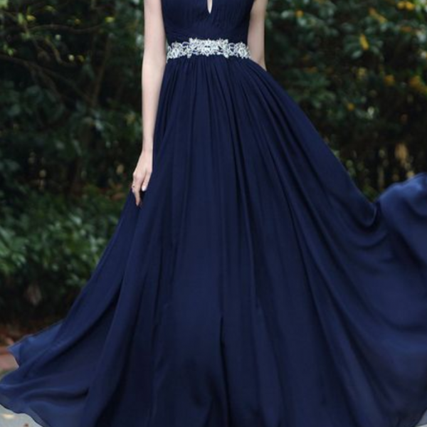 Elegant Halter Blue Beaded Prom Dresses party dresses
