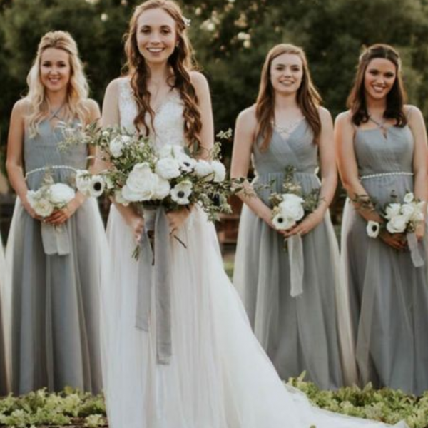 Spaghetti Straps Bridesmaid Dresses, Bridesmaid Dresses long, Country Bridesmaid Dresses Light Dusty Blue